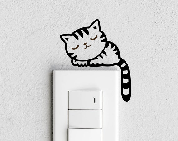 Sleeping Cat Light switch Decal