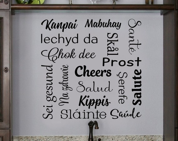 Cheers in Different Languages Decal