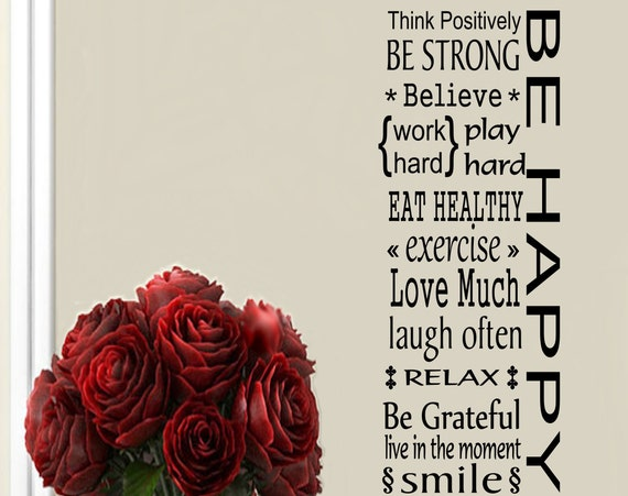 Inspirational Wall Decal Be Happy