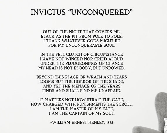 Invictus Poem Decal / I am the Master of my Fate I am the Captain of My Soul