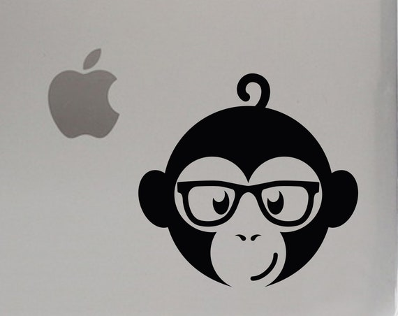 Monkey Nerd Glasses Sticker for Laptop, Macbook, iPad, Car Window