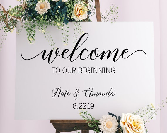 Welcome to our Beginning Personalized Wedding Sign Decal