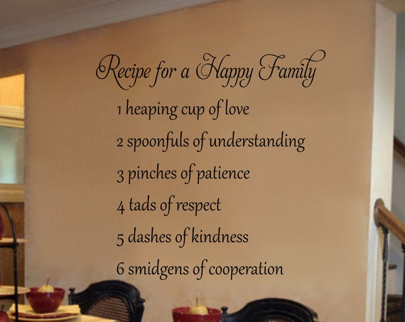 Recipe for a Happy Family  Kitchen Wall Decal