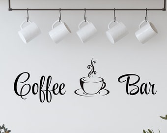 Coffee Bar Decal with Coffee Cup / Coffee with Cup / Coffee Stickers / Coffee Station / Coffee Sign / Coffee Wall Decal /