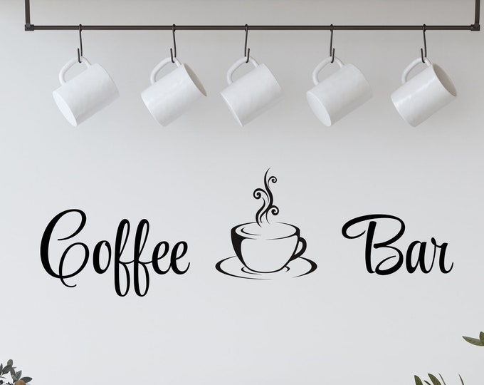 Featured listing image: Coffee Bar Decal with Coffee Cup