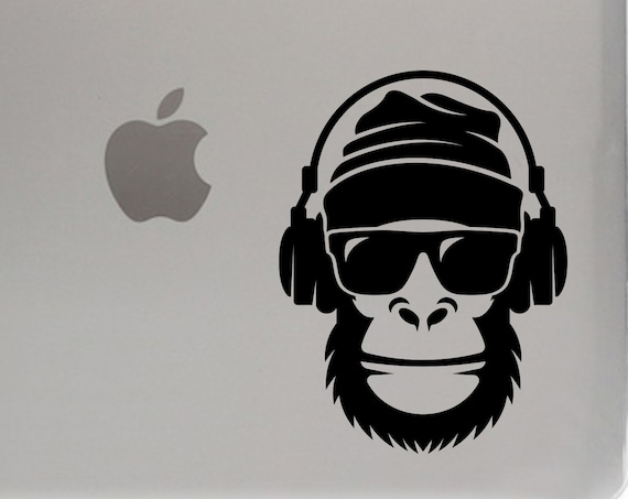 Gorilla with Headphones Laptop Sticker