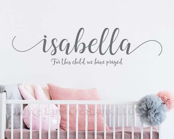 For This Child We Have Prayed Bible Verse Nursery Wall Decal with Personalized Name