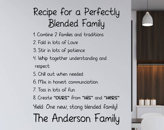 Step Family Decal / Recipe For A Perfectly Blended Family Wall Decal / Blended Family Decor / Blended Family Wall Decal / Family Wall Decal