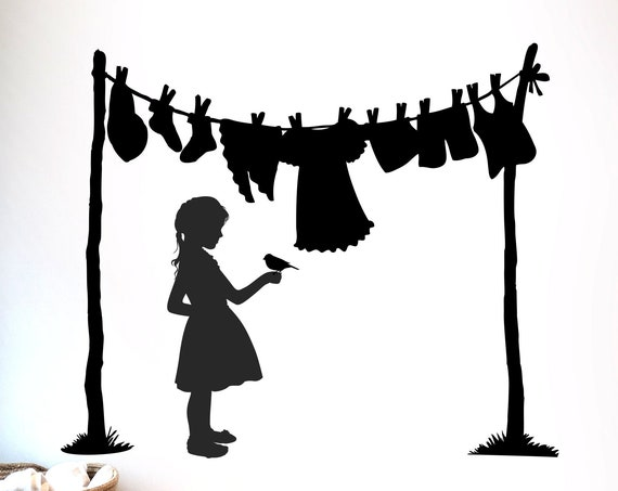 Vinyl Laundry Clothesline Decal with Little Girl and Bird