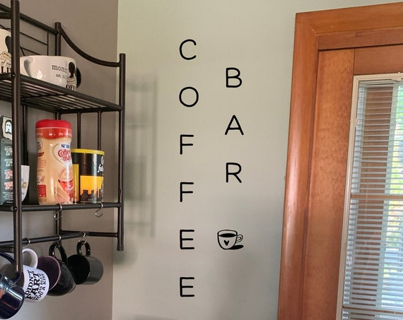 Vertical Coffee Bar Decal with a Coffee Cup Decoration