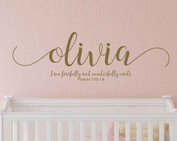 I am Fearfully and Wonderfully Made Baby Girl Name Nursery Decal