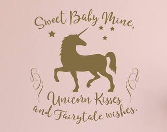 Unicorn Kisses and Fairytale Wishes Unicorn Nursery Decal / Unicorn Nursery Decor / Unicorn Quote / Unicorn Stickers / Unicorn Wall Decal