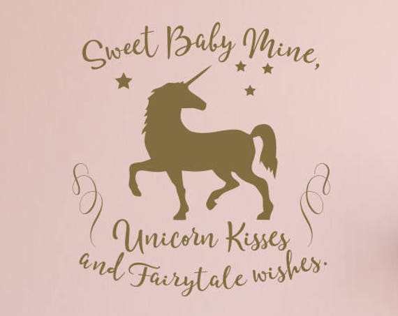 Unicorn Kisses and Fairytale Wishes Unicorn Nursery Decal / Unicorn Nursery Decor / Unicorn Quote / Unicorn Stickers / Unicorn Wall Decal