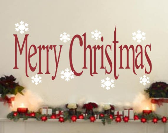 Merry Christmas with Snowflakes Christmas Decoration Vinyl Wall Decal