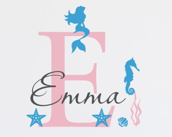Girl's Mermaid Nursery Wall Decal with Name and Initial