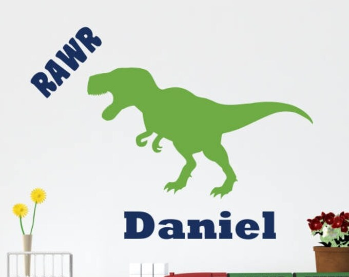 T-Rex Decal with Name / T-Rex Decor / Dinosaur Wall Decal with Name / Dinosaur Wall Stickers / Dinosaur Wall Decal Kids / T-Rex with Name