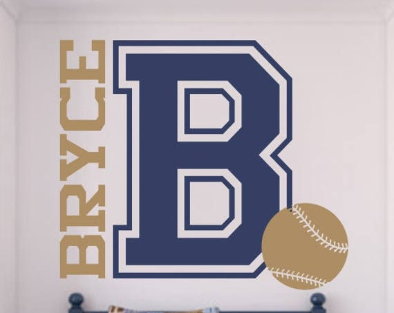 XLG Varsity Letter Baseball Decal with Personalized Name for Teen Boys Bedroom