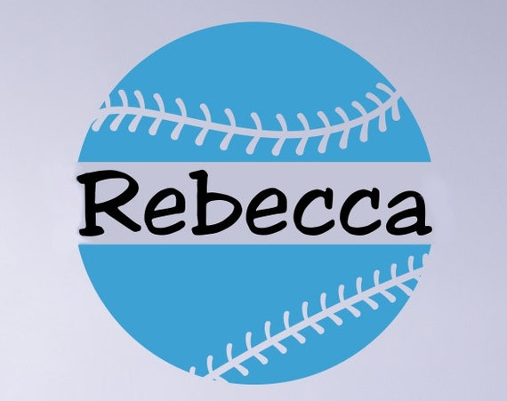 Softball Decal with Personalized Name B15