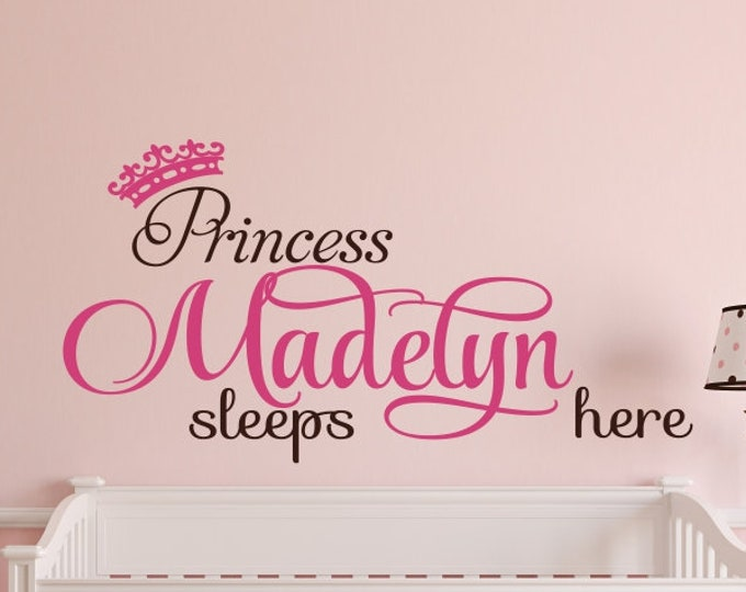 Nursery Name Decal-Princess Sleeps Here Princess Decal with Princess Crown N15 Nursery Princess Wall Decal- Nursery Art Nursery Decor