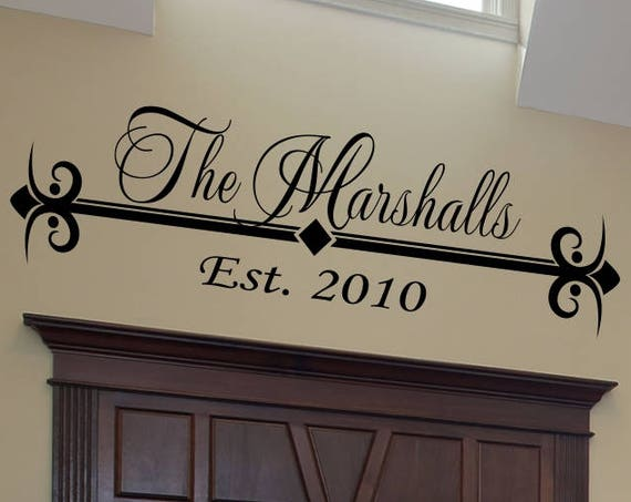 Family Established Decal Style 8 Personalized Family Name Wall Decal