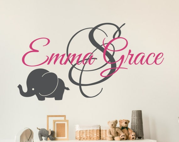 Personalized Name with Initial and Elephant for Baby Girls or Baby Boys Nursery Wall Decal
