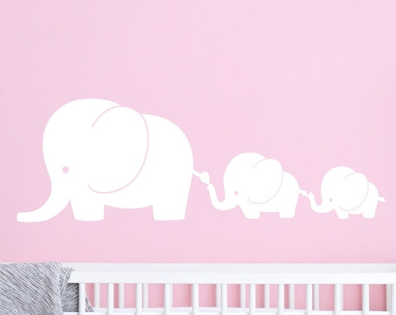3 Elephant Family Nursery Elephant Wall Decal