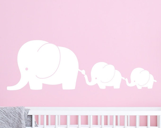 Nursery Wall Decal - 3 Elephant Family- Elephant Nursery Decal - Baby Elephant Decal - Nursery Elephant Wall Decal -  Elephant Stickers