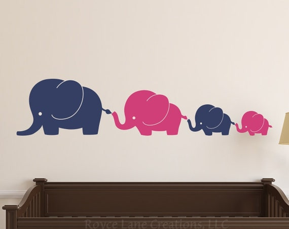 Elephant Family 4 Elephants Decal, Nursery Elephant Wall Decal