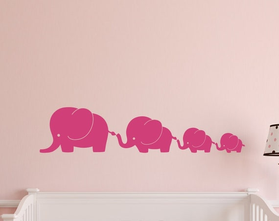 4 Elephant Family Nursery Wall Decal for Boys or Girls Nursery