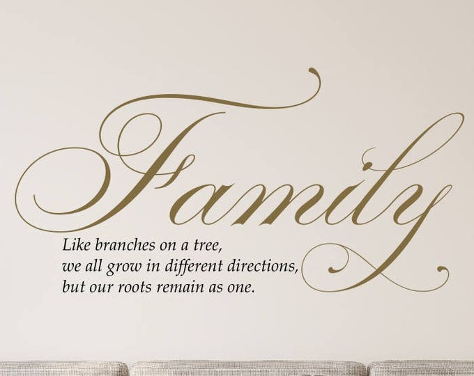 Featured listing image: Gold Livingroom Vinyl Sign- Family Like Branches on a Tree Wall Decal- Gold Wall Decal- Gold Living Room Decal- Gold Living Room Sticker