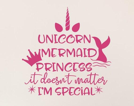Unicorn Mermaid Princess Decal / Unicorn Decal / Mermaid Decal / Princess Decal / Girls Room Decor / Girls Room Wall Decal /Girls Wall Decal