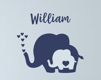 Nursery Elephant Decals with Heart / Elephant Wall Decal / Elephant Name Wall Decal / Baby Elephant with Heart / Nursery Elephant Wall Decal
