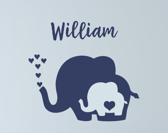 Nursery Elephant Decal with Heart and Name