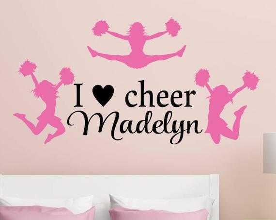 I Love Cheer Personalized Cheerleading Wall Decal