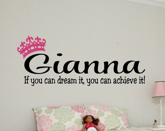 If You Can Dream it Personalized Name Teen Girl Bedroom Wall Decal B40 - Bedroom Wall Decal- Bedroom Decal- Teen Girl Bedroom Decor