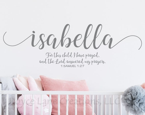 For This Child I Have Prayed Bible Verse Nursery Wall Decal with Personalized Name