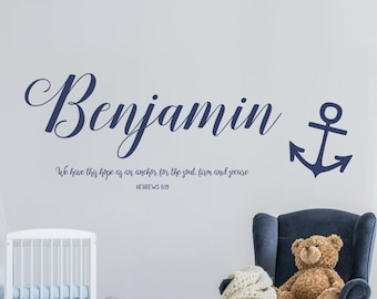 We Have This Hope as an Anchor Name Nursery Decal / Nautical Bible Verse/Bible Verse Nursery Decal/Bible Verse Nursery Wall Art/Boys Nursery