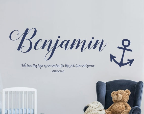 We Have This Hope as an Anchor Personalized Name Nursery Decal for Baby Boys