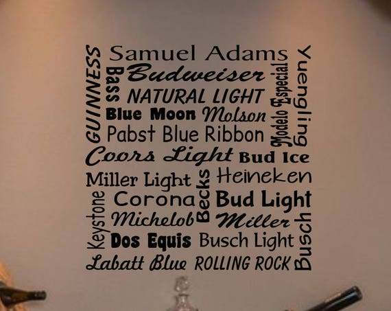 Beer Names Bar Wall Decal - Beer Names Bar Decal - Beer Wall Decal Beer Decoration-Wall Beer Decor-Bar Decal- Beer Bar- Bar Decor