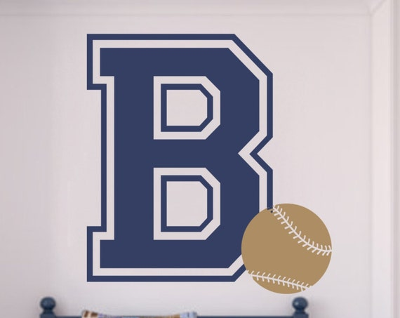 Varsity Letter Decal with Initial and Baseball for Teen Bedroom