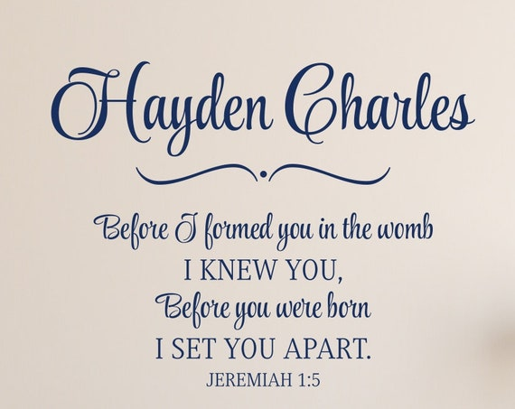 Before I Formed You in the Womb I Knew You Jeremiah 1 5 Bible Verse Nursery Decal