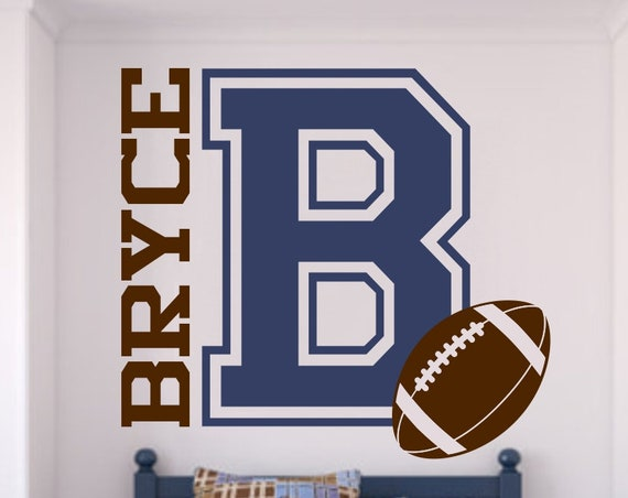 Varsity Letter Decal with Personalized Name and Football for Boys Bedroom