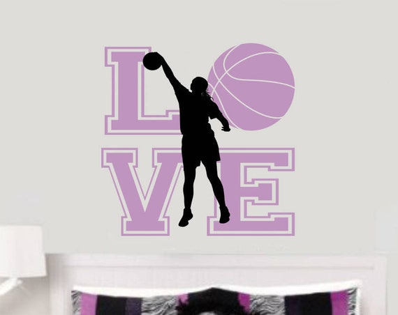 LOVE Basketball Wall Decal for Girls Room
