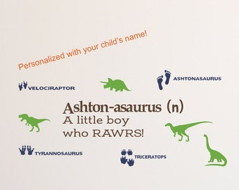 Personalized Dinosaur Wall Decal for Girls Boys Dinosaur Wall Art-T-Rex-Tyrannosaurus Rex-Dinosaur Decor- Dinosaur Wall Decal- RAWR