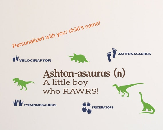 Personalized Dinosaur Wall Decal for Boys or Girls