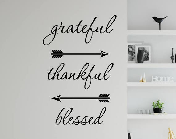 Grateful Thankful Blessed Wall Decal with Arrows