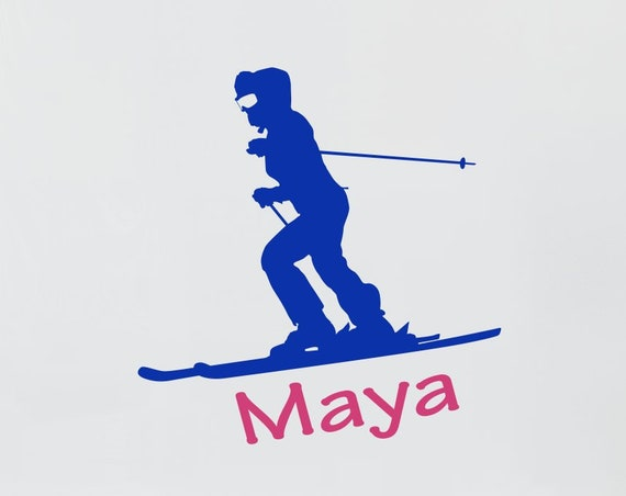 Ski Decal with Personalized Name Female