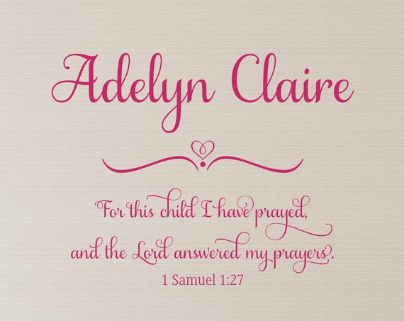 For This Child I Have Prayed 1 Samuel 1 27 Bible Verse Nursery Decal