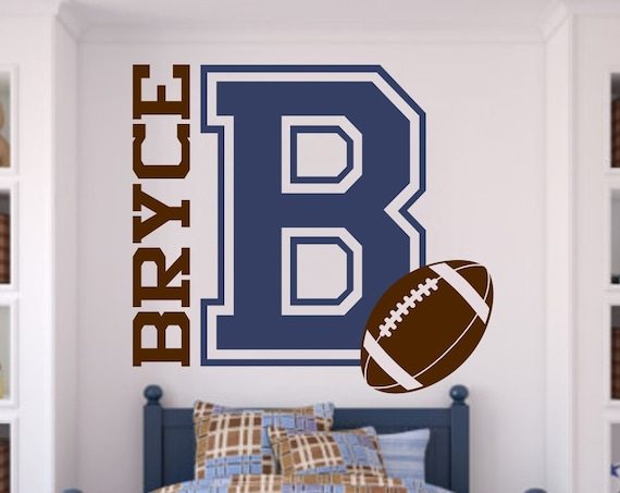 X-LRG Varsity Letter Decal with Personalized Name and Football for Teen Boys Bedroom