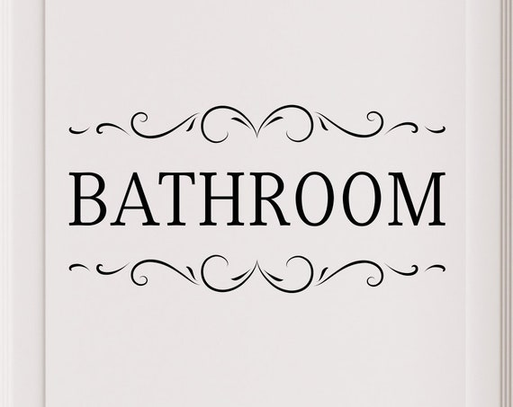 Bathroom Door or Wall Decal with Scrolls
